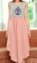 Grey Pink Chiffon Anchor Print Dipped Hem Tank Dress