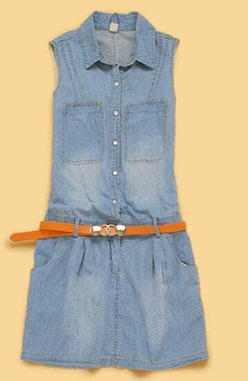 Light Blue Pockets Sleeveless Belted Denim Dress