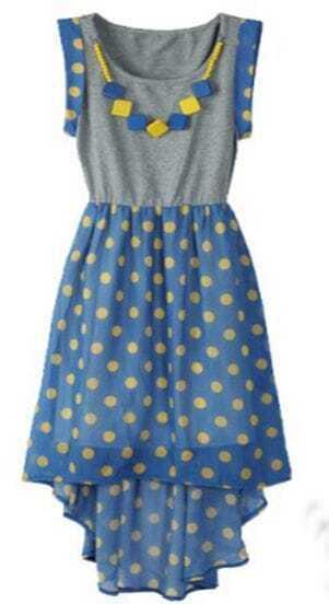 Blue Polka Dot Sleeveless Necklace Embellished Dipped Hem Dress