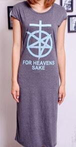 Light Grey Cotton HEAVENS SAKE Print Split Back Dress