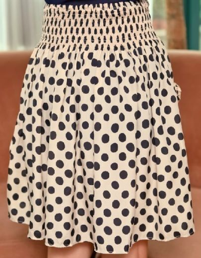 Beige Chiffon Polka Dot Print Frill Pockets Pleated Skirt