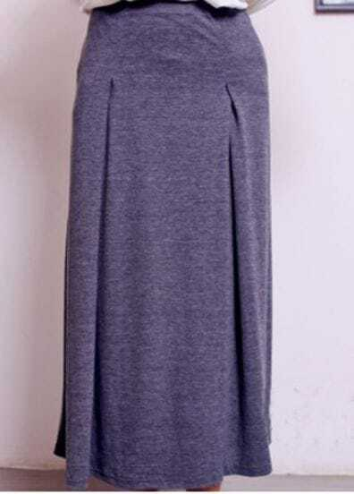 Dark Grey Cotton Flare Full Length Skirt