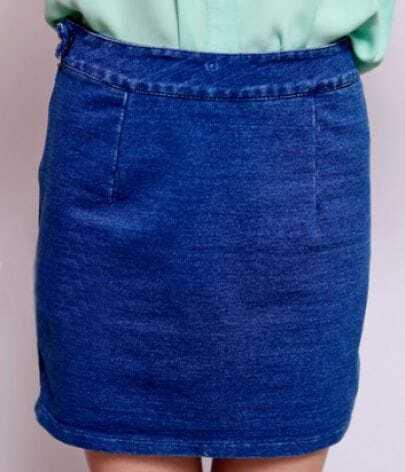 Dark Blue Denim Zip Sides Bodycon Short Skirt