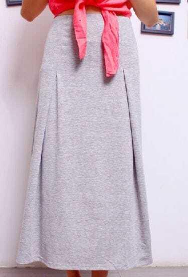Light Grey Cotton Flare Full Length Skirt