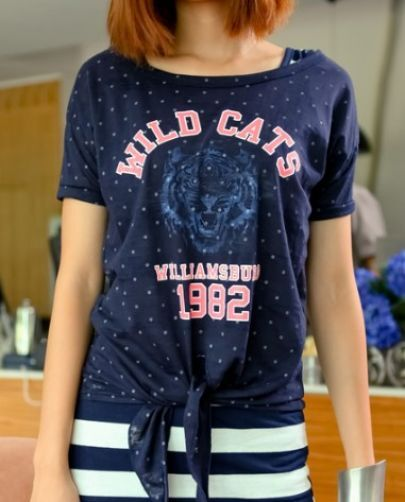 Navy Spot WILD CATS Print Tie Front Short Sleeve T-shirt