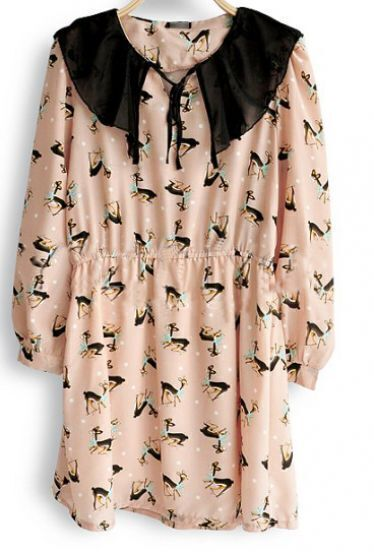 Pink Chiffon Deer Print Cape Collar Long Sleeve Blouse