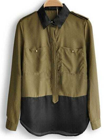 Army Green Studded Epaulet and Pockets Long Sleeve Blouse