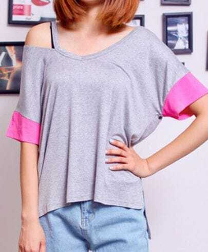 Grey Pink Batwing Cut Out Shoulder Short Sleeve T-Shirt