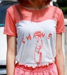 Orange Hat Girl Mesh Insert Short Sleeve T-Shirt