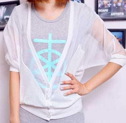 White Puff Sleeve Cardigan Sheer Half Sleeve Sweater -SheIn(Sheinside)