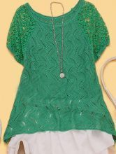 Green Lace Embroidery Curved Hem Short Sleeve Sweater
