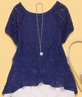 Blue Lace Embroidery Curved Hem Short Sleeve Sweater