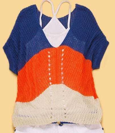 Blue Orange Stripe Batwing Short Sleeve Knit Sweater
