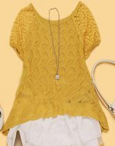 Yellow Lace Embroidery Curved Hem Short Sleeve Sweater