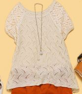 Beige  Lace Embroidery Curved Hem Short Sleeve Sweater