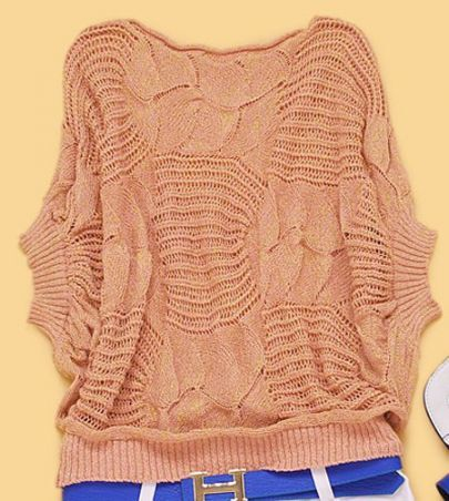 Pink Batwing Short-Sleeved Crochet Sweater