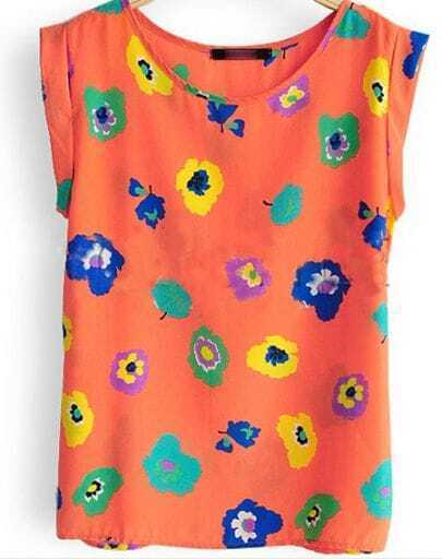 Orange Paintily Floral Print Chiffon Sleeveless Blouse