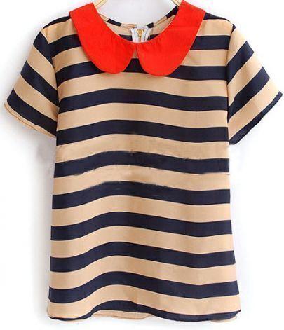 Navy Beige Stripe Peter Pan Collar Short Sleeve Zip Back Blouse