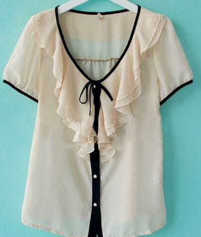 White Ruffles Neck Short Sleeve Chiffon Blouse