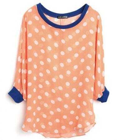 Orange Polka Dot Batwing Sleeve Curved Hem Chiffon Blouse