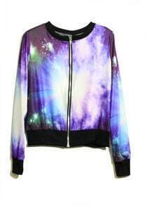Purple Galaxy Print Long Sleeve Bomber Jacket