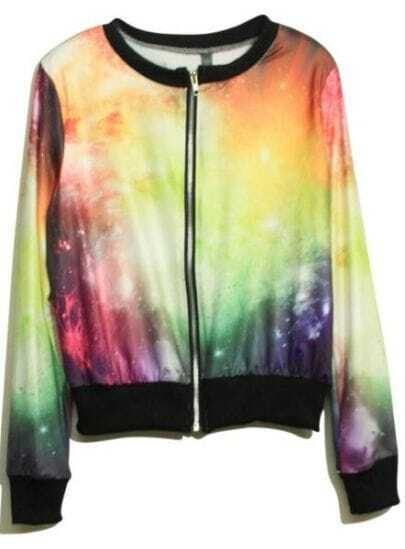 Yellow Galaxy Print Long Sleeve Bomber Jacket