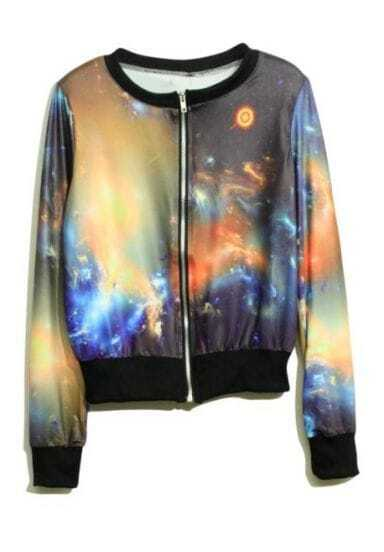 Khaki Galaxy Print Long Sleeve Bomber Jacket