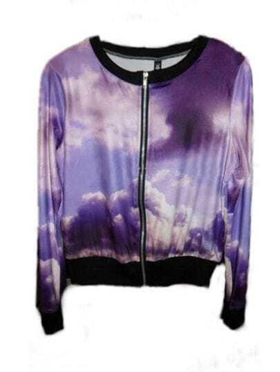 Purple Cloud Galaxy Print Long Sleeve Bomber Jacket