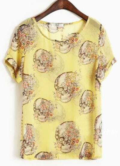 Yellow Round Neck Short Sleeve Skull Print Loose Chiffon Shirt