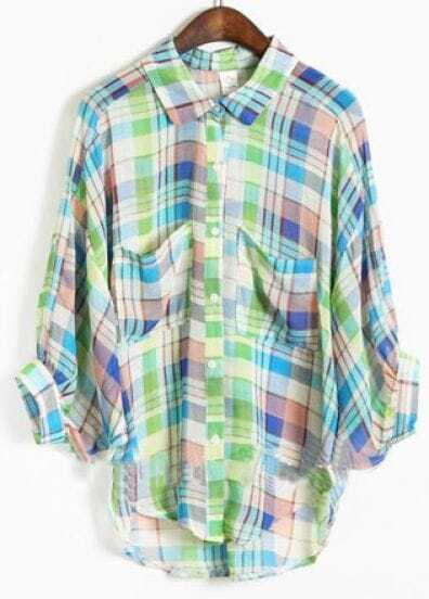 Blue Lapel Three Quarter Length Sleeve Batwing Plaid Shirt