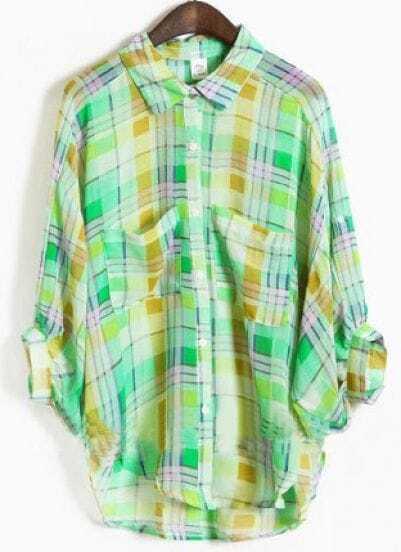 Green Lapel Three Quarter Length Sleeve Batwing Plaid Shirt