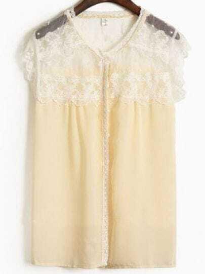 Apricot Round Neck Short Sleeve Lace Loose Chiffon Shirt