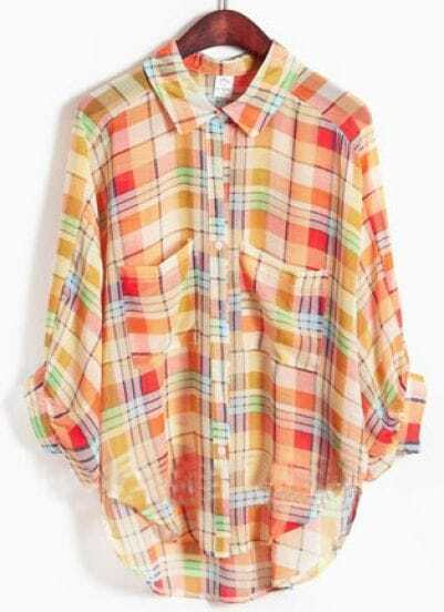 Yellow Lapel Three Quarter Length Sleeve Batwing Plaid Shirt