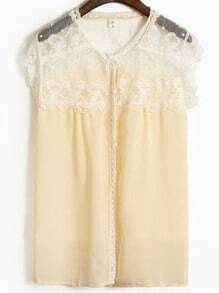 Apricot Round Neck Short Sleeve Lace Loose Chiffon Shirt