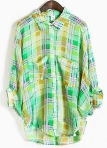 Green Lapel Three Quarter Length Sleeve Batwing Plaid Shirt