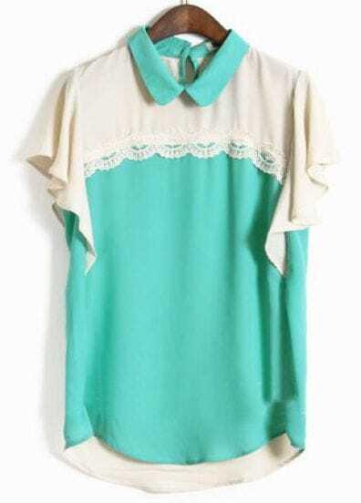 Green Lapel Short Sleeve Lace Ruffles Chiffon Shirt