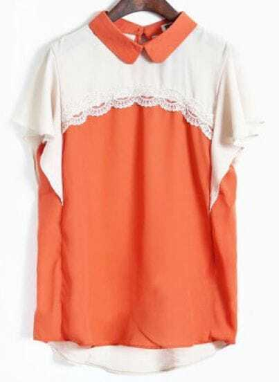 Orange Lapel Short Sleeve Lace Ruffles Chiffon Shirt