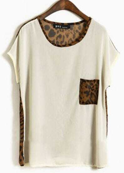 Apricot Round Neck Short Sleeve Leopard Loose Chiffon Shirt
