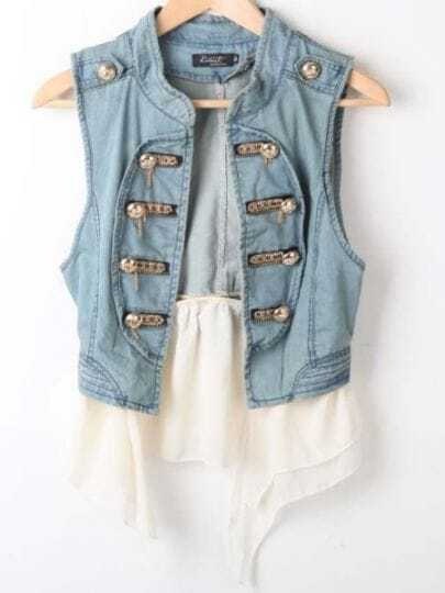 Blue High Neck Sleeveless Double Breasted Denim Shirt