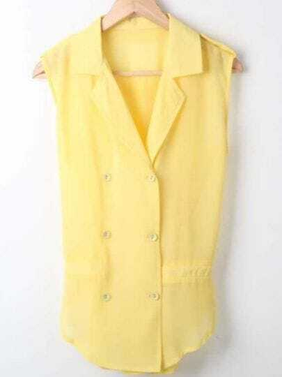 Yellow Lapel Sleeveless Double Breasted Chiffon Shirt
