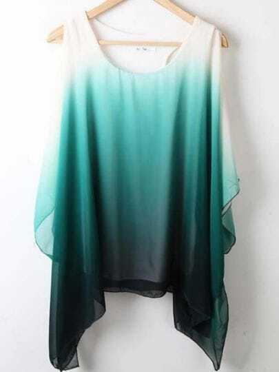 Green Round Neck Short Sleeve Asymmetrical Off the Shoulder Chiffon Shirt