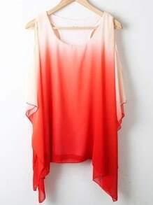 Red Round Neck Short Sleeve Asymmetrical Off the Shoulder Chiffon Shirt