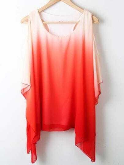 Red Round Neck Short Sleeve Asymmetrical Off the Shoulder Chiffon Shirt