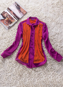 Rose Red Lapel Long Sleeve Single Breasted Polyester Shirt