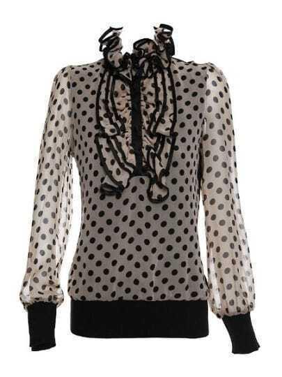 Grey V Neck Long Sleeve Ruffles Polka Dot Silk Shirt