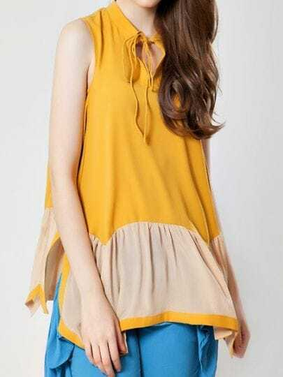 Yellow High Neck Sleeveless Loose Silk Shirt