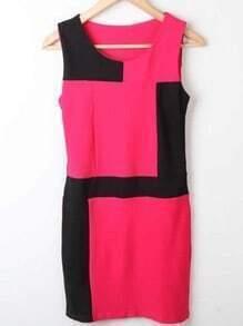 Black Rose Red Round Neck Sleeveless High Waist Polyester Dress