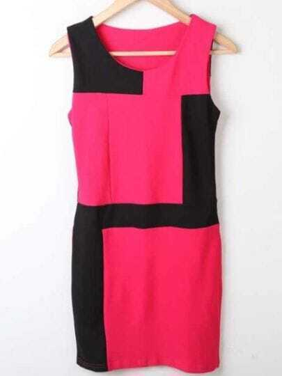 Black Rose Red Round Neck Sleeveless High Waist Polyester Dress