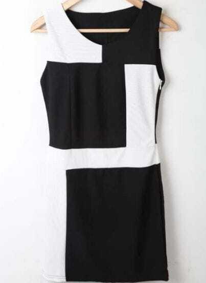 Black White Round Neck Sleeveless High Waist Polyester Dress