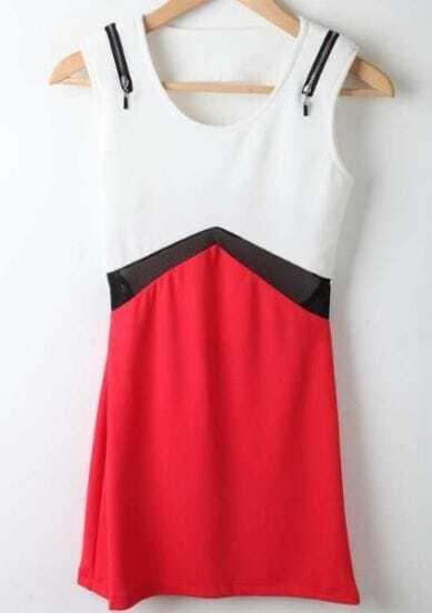 Red White Round Neck Sleeveless Hollow High Waist Chiffon Dress